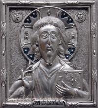 """Икона Иисуса Христа """"Спаситель"""" (13х14, серебрение)"""