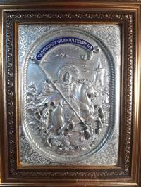 """Икона именная """"Георгий Победоносец"""" (18х21, серебрение, фигура №6)"""