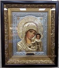"""Икона Богородицы """"Казанская"""" (серебрение и позолота), код: 020222"""