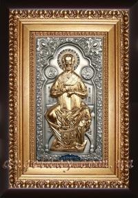 """Икона именная """"Николай Чудотворец на престоле"""" (позолота), код: 050212"""