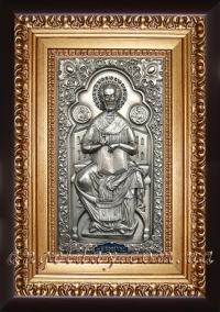 """Ікона Богородиці """"Всецариця"""" (Пантанаса) (22х30, сріблення)"""