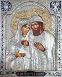 """Ікона іменна """"Петро і Февронія (Давид і Єфросинія)"""" в позолочених вінцях, 25х27"""