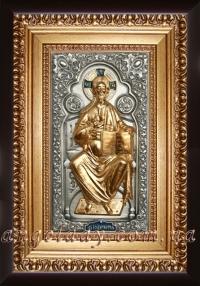 """Икона Иисуса Христа """"Спаситель на престоле"""" (позолота), код: 010202"""