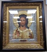 """Икона Иисуса Христа """"Господь Вседержитель"""" (серебрение и позолота), код: 010210"""
