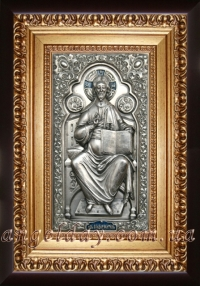 "Икона Иисуса Христа ""Спаситель на престоле"" (серебрение), код: 010201"