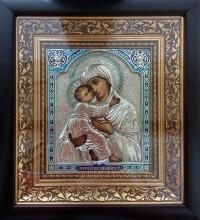 """Икона Богородицы """"Владимирская"""" серебрение, код 020213"""