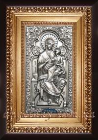 """Икона Богородицы """"Всецарица на престоле"""" (серебрение), код: 020201"""