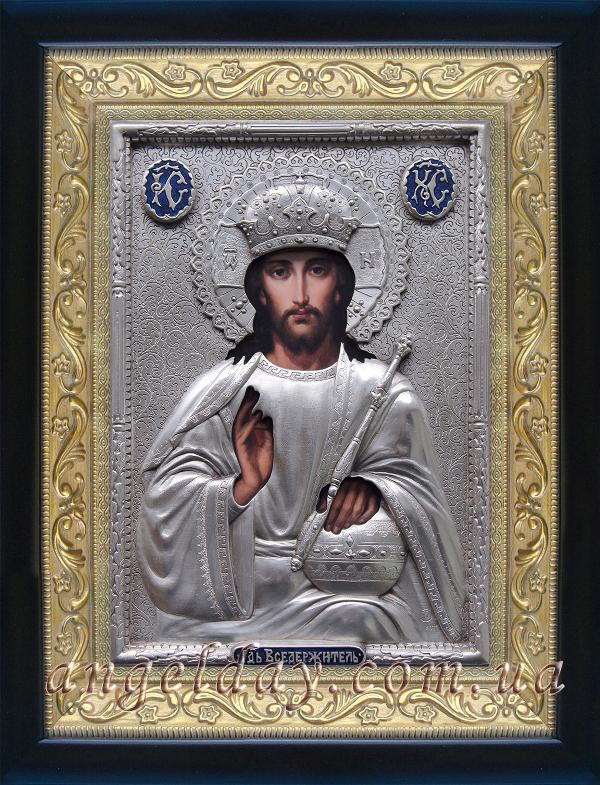 """Икона Иисуса Христа """"Господь Вседержитель"""" (серебрение)"""
