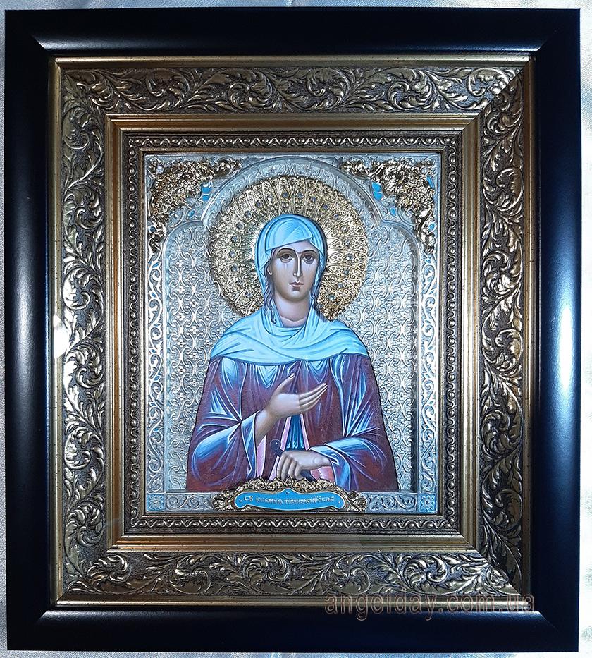 """Пример 1: икона """"святая Ксения"""", серебрение, позолоченные накладные элементы, стразы """"хрусталь"""", эмали - цвет бирюза"""
