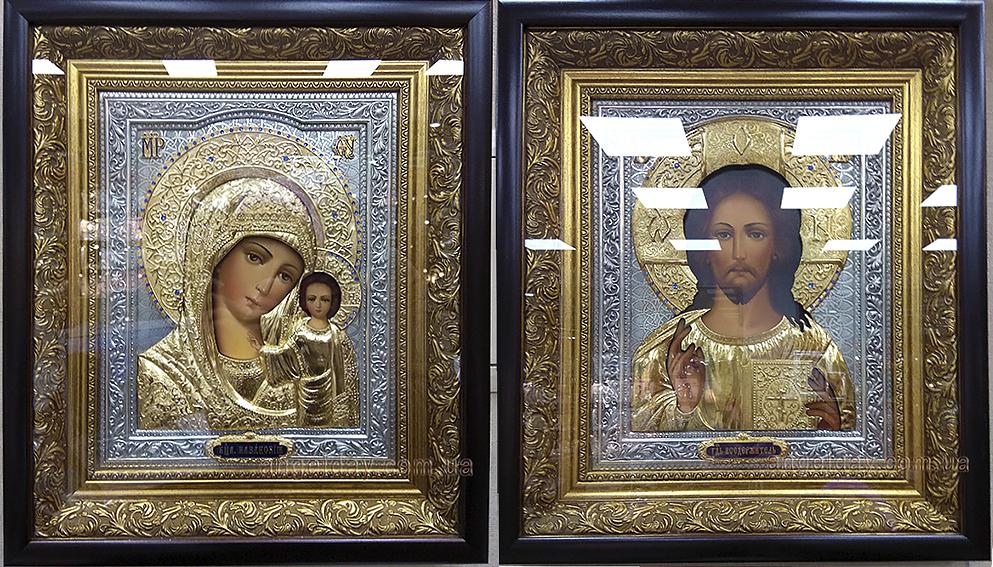 """Венчальная пара икон """"Казанская"""" (позолота и серебрение)"""