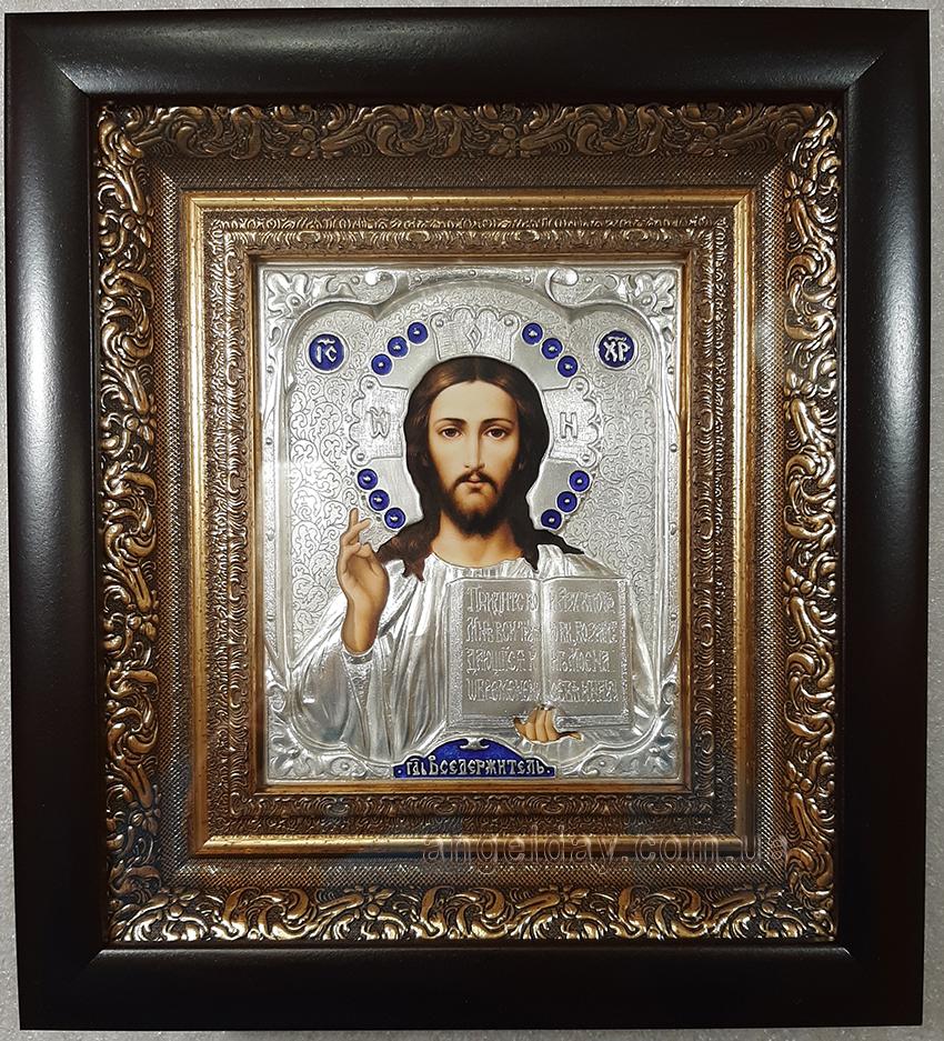 """Икона Иисуса Христа """"Господь Вседержитель"""" (малый, серебрение)"""