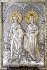 """Ікона іменна """"Апостолів Петра і Павла"""" (24х30, позолочені вінці)"""