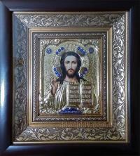 """Иконa Иисуса Христа """"Господь Вседержитель"""" (малый, позолота), код: 010103"""