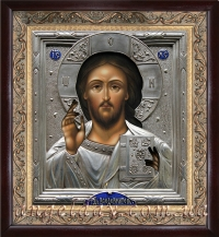 """Икона Иисуса Христа """"Спаситель"""" (25х27, серебрение)"""