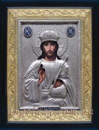"""Икона Иисуса Христа """"Господь Вседержитель"""" (серебрение, 24х30)"""