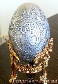 """Пасхальное яйцо """"Христос Воскрес"""" (позолота, серебрение)"""