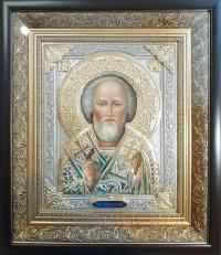 """Ікона іменна """"Миколай Чудотворець"""" (позолота та сріблення) №1"""
