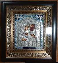 """Ікона іменна """"Петро і Февронія (Давид і Єфросинія)"""" сріблення, 25х27"""