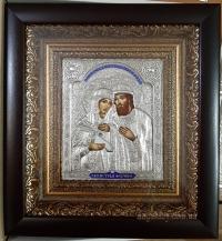 """Икона именная """"Пётр и Феврония (Давид и Евфросиния)"""" серебрение, 20х22"""