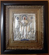 Икона «Покрова Пресвятой Богородицы» (20х22, серебрение)