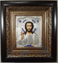 """Икона Иисуса Христа """"Господь Вседержитель"""" (20х22, малый, серебрение)"""
