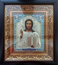 """Икона Иисуса Христа """"Спаситель"""" (серебрение, 25х27)"""