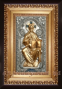 """Ікона Ісуса Христа """"Спаситель на престолі"""" (22х30, фігура в позолоті)"""