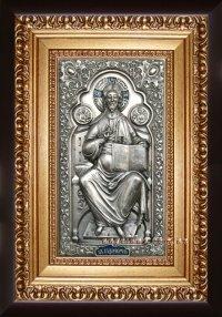 "Икона Иисуса Христа ""Спаситель на престоле"" (22х30, серебрение)"