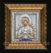 """Ікона Богородиці """"Семистрільна"""" (14х15, сріблення)"""