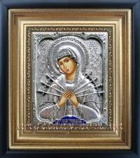 """Ікона Богородиці """"Семистрільна"""" (20х22, сріблення)"""